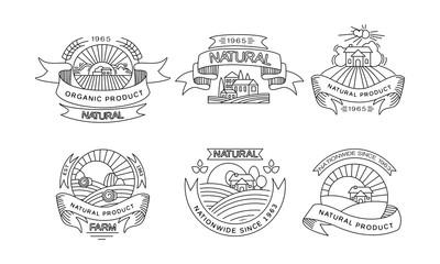 Natural organic product logos set, retro labels, emblems for farm market, natural products packaging, restaurant menu, fresh eco frindly food vector Illustration