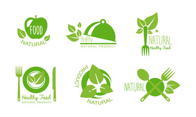 Healthy natural product logos set, eco, organic, vegan, raw, healthy food green labels vector Illustration on a white background