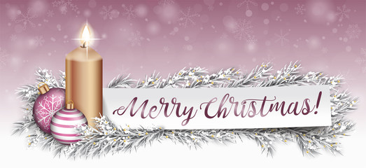 Paper Banner Pink Bauble Frozen Fir Twigs Merry Christmas Candle