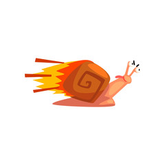 Fast snail, cute cartoon mollusk character with fire speed booster vector Illustration on a white background