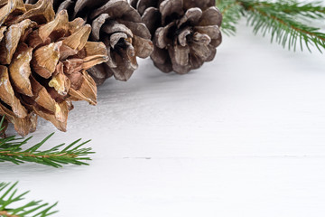 Christmas decorations on dark wooden background.