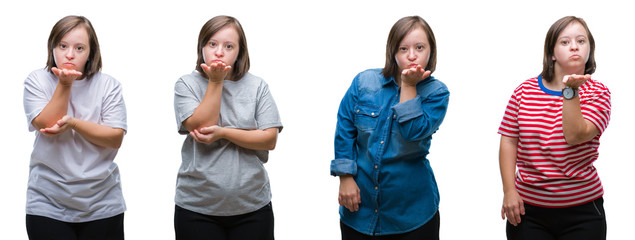 Collage of down sydrome woman over isolated background looking at the camera blowing a kiss with hand on air being lovely and sexy. Love expression.