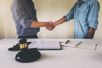 House owner shake hands with lawyer. Successful housing law plan