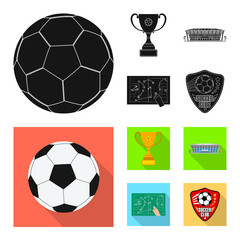 Vector design of soccer and gear sign. Collection of soccer and tournament vector icon for stock.