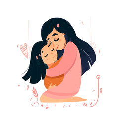 Mother s day vector card. Mom love. Sweet pink warm card for mother s day. Monther hold daughter. motherhood