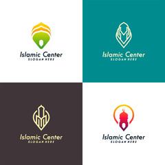 Set of Islamic Center logo designs concept vector, Mosque Point logo designs vector