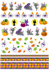 Weekly planner stickers for Halloween days. Cute cartoon black cat kitten in different poses and pumpkins