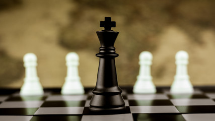 black king chess stand alone on a chessboard. - Leader and business winner concept.