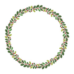 Christmas Hand Drawn Wreath with Round Frame for Cards Design Vector Layout with Copyspace Can be use for Decorative Kit, Invitations, Greeting Cards, Blogs, Posters, Merry X'mas and Happy New Year.