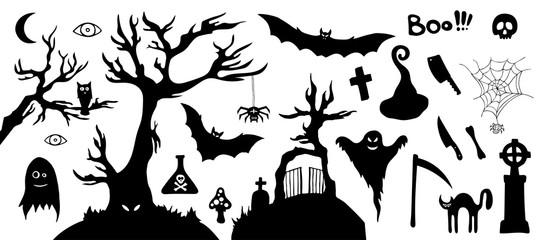 Set of silhouette horror images of a Halloween.