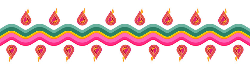Banner with Indian henna ornament. Design for Diwali festival.