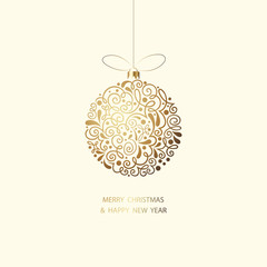 Merry Christmas and Happy New Year card with Christmas ball.