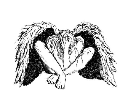 Fallen angel with black wings sitting on the floor. Mystic dark fantasy. Ink hand drawn vector illustration