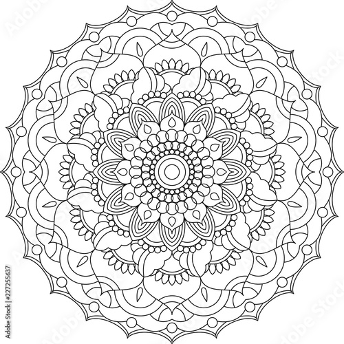 Mandala Coloring Page Adult Coloring Relax Meditation Poster