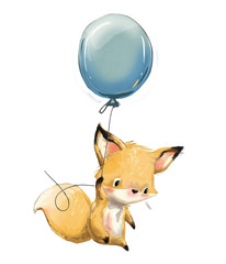 Little fox with balloon