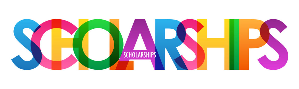 SCHOLARSHIPS colorful vector letters icon