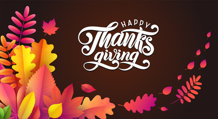 Vector Hand drawn Happy Thanksgiving, fallen leaves frame on black background. Festive style autumn calligraphy.