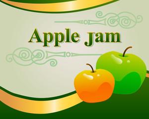 Apple jam label design template