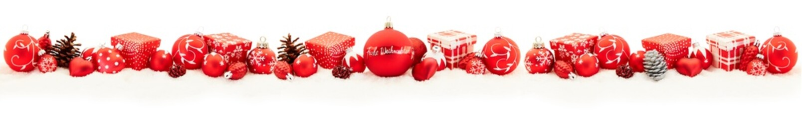 Frohe Weihnachten Panorama Rahmen in rot
