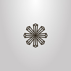 black and white simple vector geometric sign of crystal eight-leaf flower
