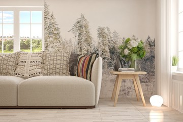 Idea of white minimalist room with sofa and decorated wall. Scandinavian interior design. 3D illustration