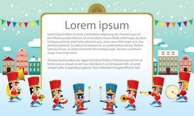 A marching cute brass band with various kind of instruments. With snowing day time street scene. Texts are dummy text.