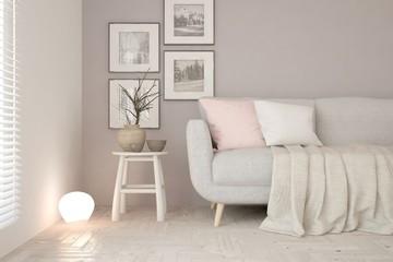Mock up of white modern room with sofa. Scandinavian interior design. 3D illustration