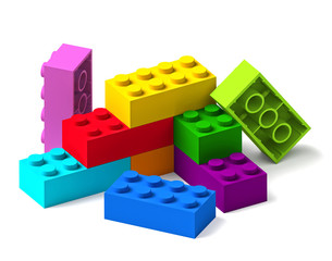 Rainbow colour building toy blocks 3D