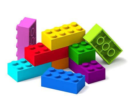 Rainbow colour building toy blocks 3D