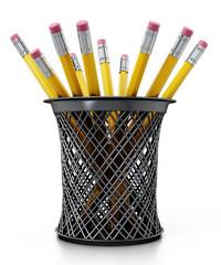 Black pen holder full of pencils isolated on white background. 3D illustration