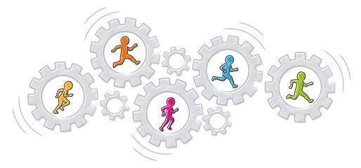 Zusammenarbeit / Teamwork: Eine Gruppe bunter Männchen läuft in drehenden Zahnrädern / Vektor, freigestellt