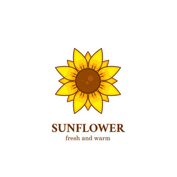 Fresh and warm sunflower logo symbol icon illustration