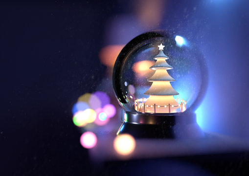 A christmas snow globe on a shelf with christmas lights in the background. 3D illustration