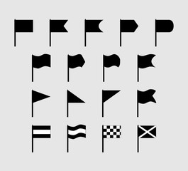 Set of 17 flat silhouette flags of different shapes and configuration.