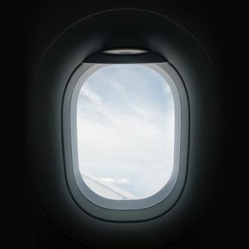 Looking Through An Airplane Window Porthole