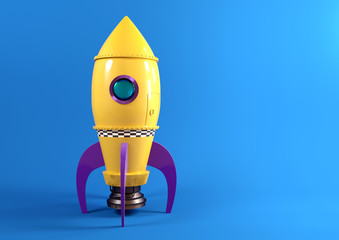 A retro yellow toy spaceship rocket set against a blue background ready to launch. 3D illustration.