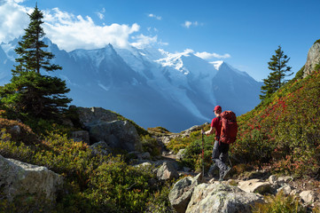 A man hiking on the famous Tour du Mont Blanc near Chamonix, France. Wall mural