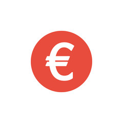 euro finance money. Red symbol flat