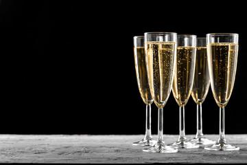 Many glasses of champagne