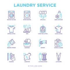 Laundry service thin line icons set: washing machine, spin cycle, drying machine, fabric softener, iron, handwash, washing powder, steaming, ozonation, repair, clothepin. Modern vector illustration.