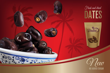 Dried dates ads. Vector realistic illustration of dried dates in a bowl. Horizontal banner with product and packaging mockup.