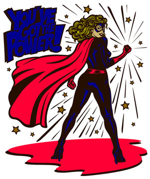 Pop art comic book style powerful female superheroine standing with clenched fist female superhero vector illustration
