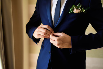 Gathering of the groom , groom buttons cuffs.