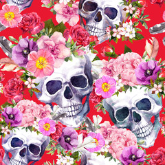 Human skulls, flowers on red background. Seamless pattern. Watercolor