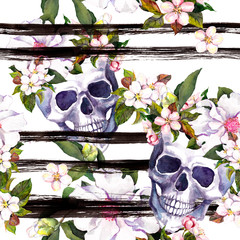 Human skulls, flowers for Halloween. Repeating pattern with ink stripes. Watercolor