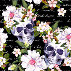 Human skulls, white flowers. Seamless vintage pattern with hand written letter notes on black background. Watercolor