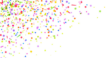 Confetti. Bright explosion. Texture with random geometric elements on isolated white. Abstract background. Pattern for design. Print for polygraphy, posters, t-shirts and textiles. Greeting cards