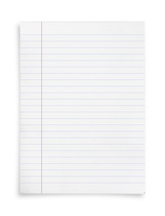 White paper sheet isolated on white background.