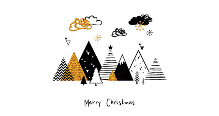Golden abstract christmas winter scene. Christmas winter landscape background in Scandinavian style. Abstract Vector illustration