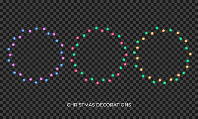 Christmas lights. Realistic multicolored wreath for New Year and Xmas season. Glowing isolated shiny lights with transparent effect Wall mural